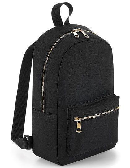Metallic Zip Mini Backpack Black / Gold