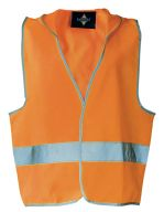 Kids` Hooded Safety Vest EN 1150 Signal Orange