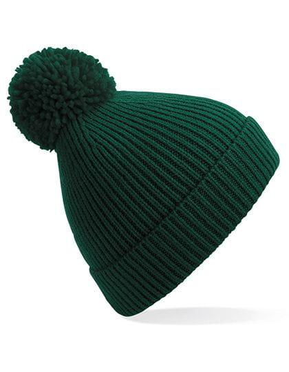 Engineered Knit Ribbed Pom Pom Beanie Bottle Green