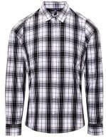 Ginmill Check Womens Long Sleeve Cotton Shirt Black / White