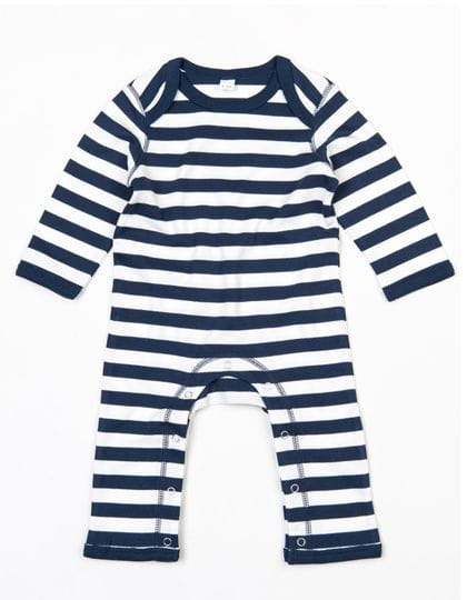 Baby Stripy Rompasuit Navy / Washed White
