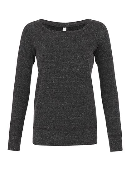 Women`s Sponge Fleece Wide Neck Sweatshirt Charcoal-Black Triblend (Heather)