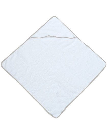Piped Border Baby Towel With Hood Velour Sand