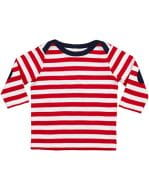Baby Stripy Long Sleeve T Red / Washed White / Navy