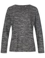 Knit Long Sleeve Sweater Women Dark Grey Melange