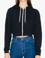 Women`s Flex Fleece Cropped Zip Hooded Sweatshirt Black