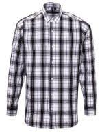 Ginmill Check Mens Long Sleeve Cotton Shirt Black / White