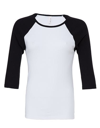 3/4-Sleeve Contrast Raglan T-Shirt White / Black