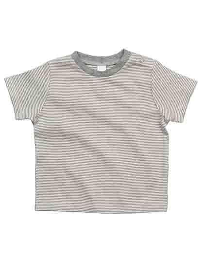 Baby Striped  T White / Heather Grey Melange