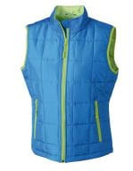 Ladies` Padded Light Weight Vest Aqua / Lime Green