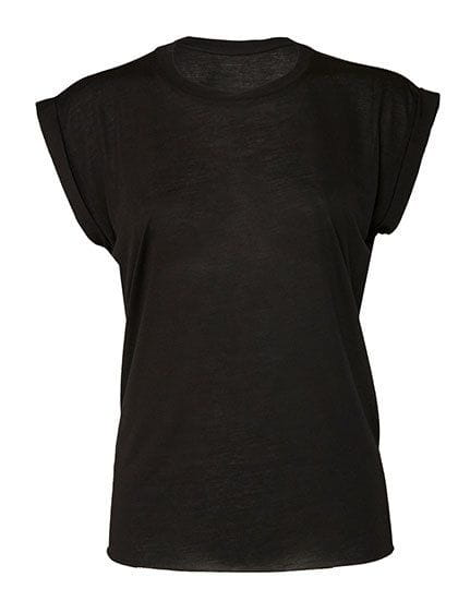 Women`s Flowy Muscle Tee with Rolled Cuff Black
