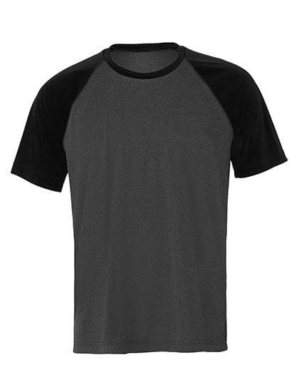 Unisex Performance Short Sleeve Raglan Tee Dark Grey Heather / Black